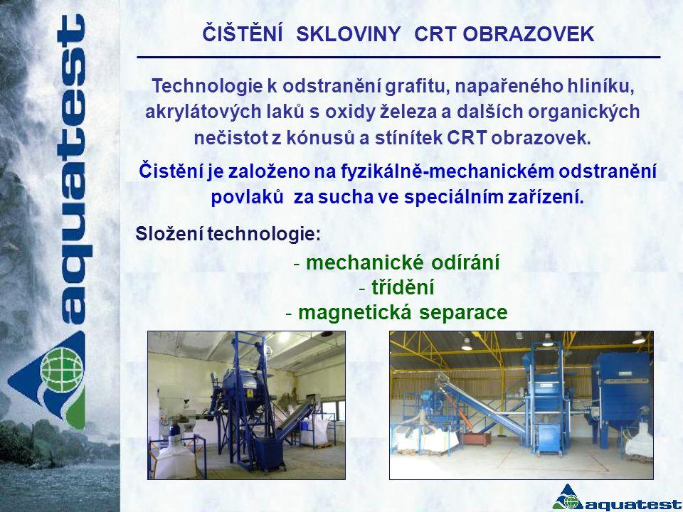 ČIŠTĚNÍ SKLOVINY CRT OBRAZOVEK - mechanické odírání - třídění - magnetická separace Technologie k odstranění grafitu, napařeného hliníku, akrylátových