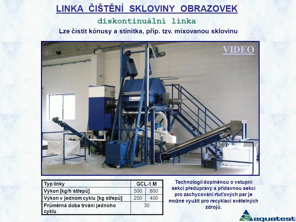 LINKA ČIŠTĚNÍ SKLOVINY OBRAZOVEK diskontinuální linka Typ linkyGCL-1 M Výkon [kg/h střepů]500800 Výkon v jednom cyklu [kg střepů]250400 Průměrná doba