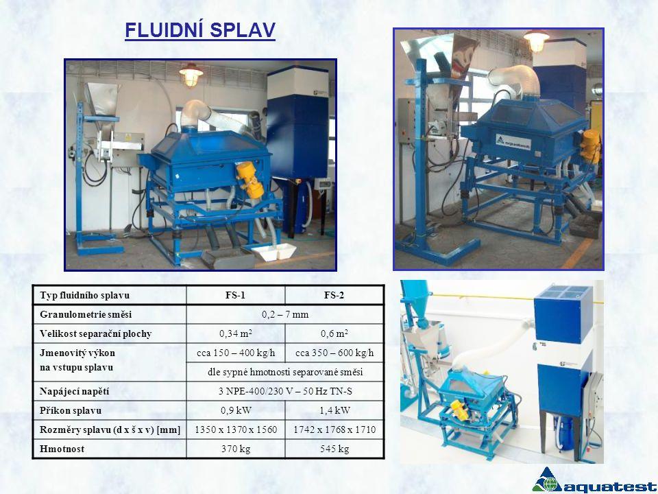 FLUIDNÍ SPLAV Typ fluidního splavuFS-1FS-2 Granulometrie směsi0,2 – 7 mm Velikost separační plochy0,34 m 2 0,6 m 2 Jmenovitý výkon na vstupu splavu cc