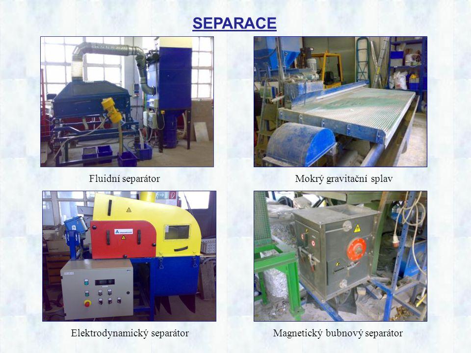 SEPARACE Fluidní separátor Elektrodynamický separátor Mokrý gravitační splav Magnetický bubnový separátor