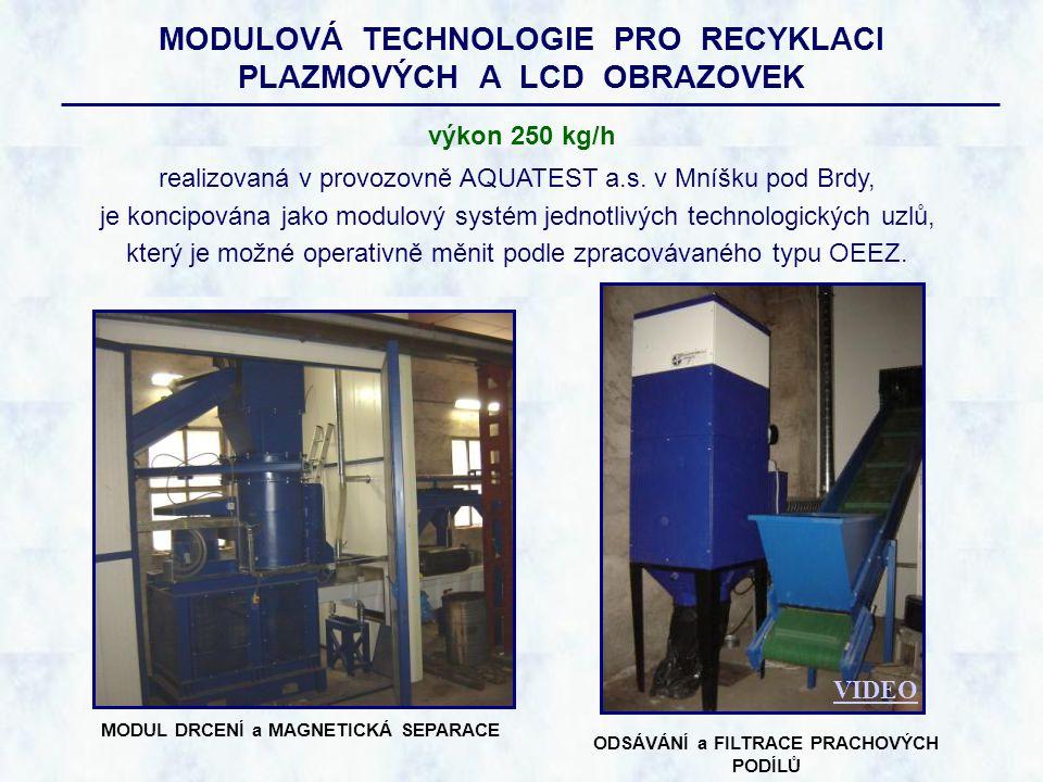 MODULOVÁ TECHNOLOGIE PRO RECYKLACI PLAZMOVÝCH A LCD OBRAZOVEK realizovaná v provozovně AQUATEST a.s. v Mníšku pod Brdy, je koncipována jako modulový s