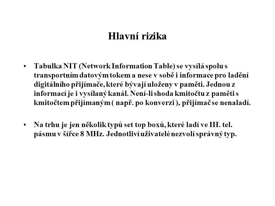 Hlavní rizika •Tabulka NIT (Network Information Table) se vysílá spolu s transportním datovým tokem a nese v sobě i informace pro ladění digitálního přijímače, které bývají uloženy v paměti.