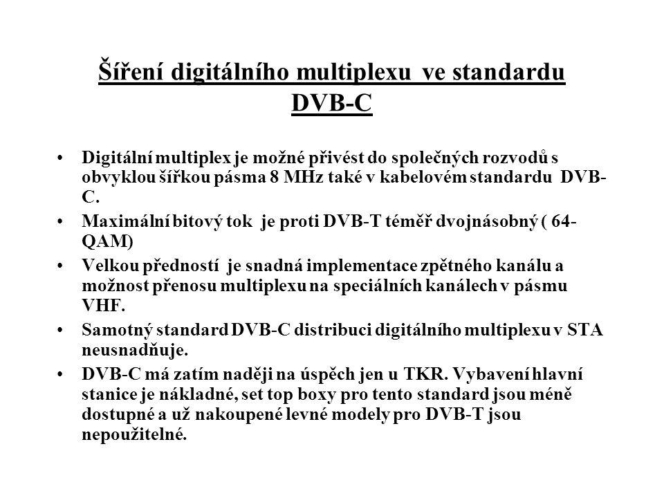Šíření digitálního multiplexu ve standardu DVB-C •Digitální multiplex je možné přivést do společných rozvodů s obvyklou šířkou pásma 8 MHz také v kabelovém standardu DVB- C.