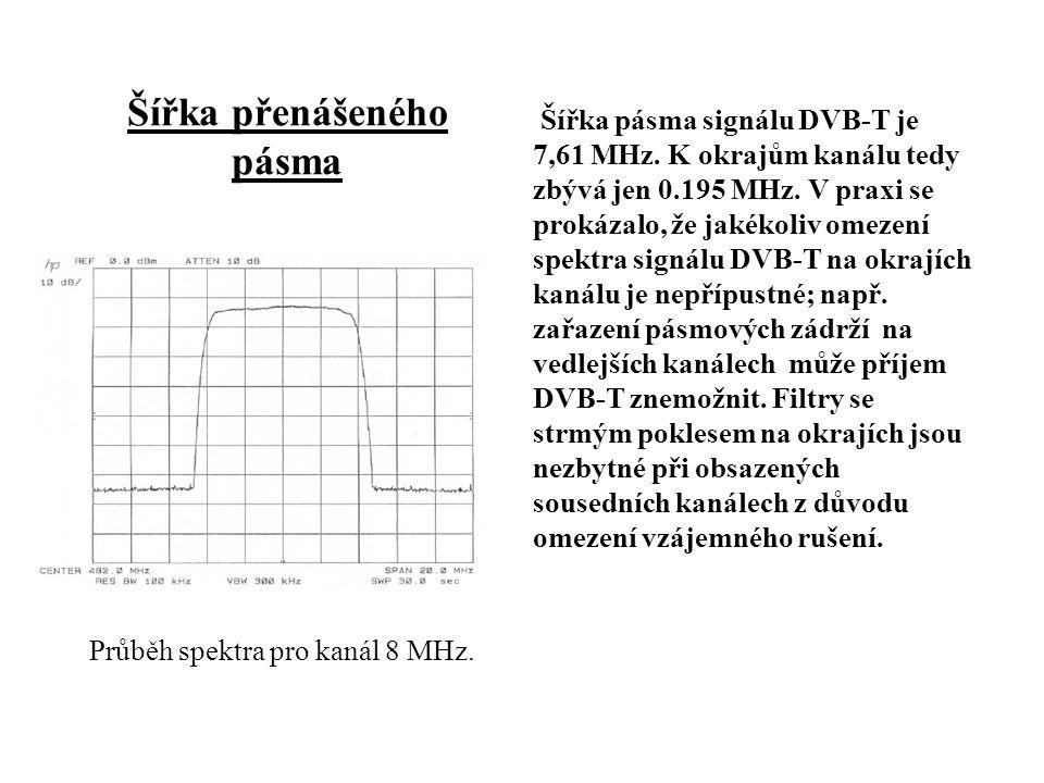 Šířka přenášeného pásma Šířka pásma signálu DVB-T je 7,61 MHz.