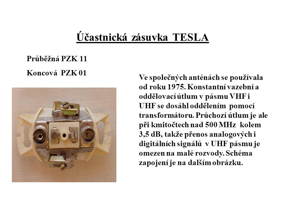 Účastnická zásuvka TESLA Průběžná PZK 11 Koncová PZK 01 Ve společných anténách se používala od roku 1975.