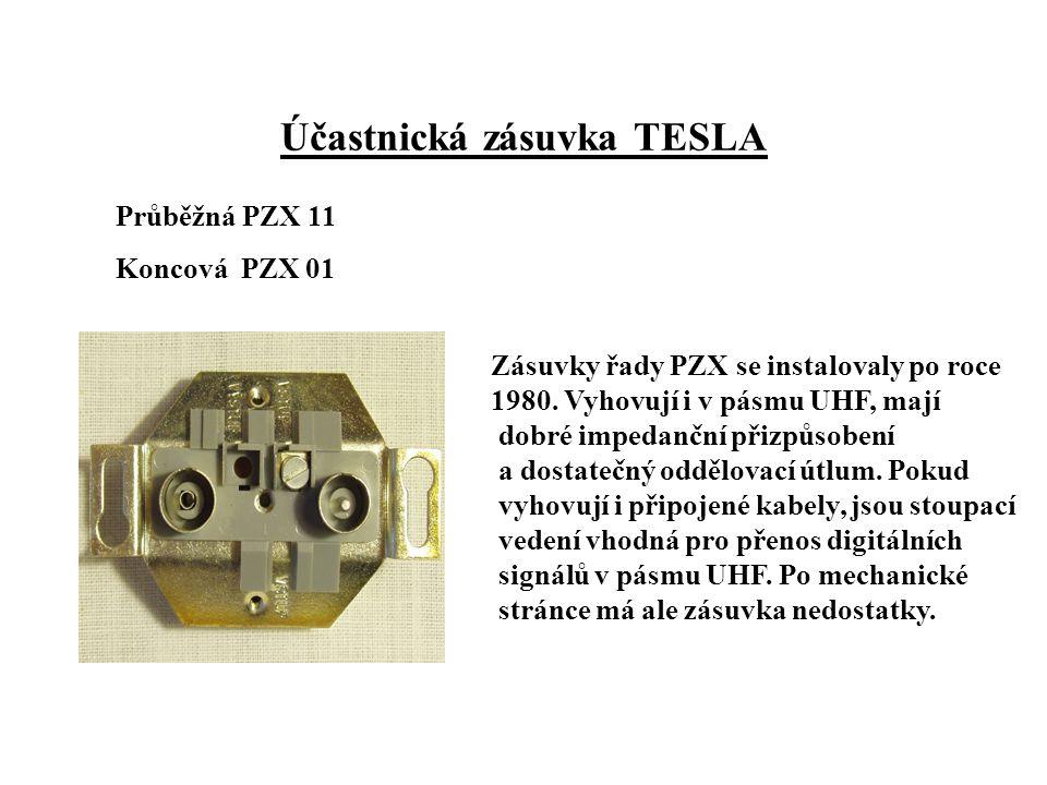 Účastnická zásuvka TESLA Průběžná PZX 11 Koncová PZX 01 Zásuvky řady PZX se instalovaly po roce 1980.