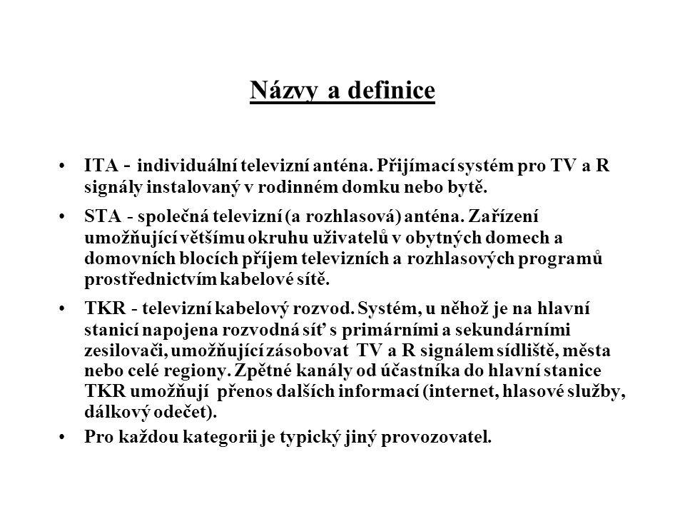 Názvy a definice •Hlavní stanice - soubor zařízení sloužících k úpravě, zesílení a sloučení signálů určených k distribuci rozvodnou sítí.