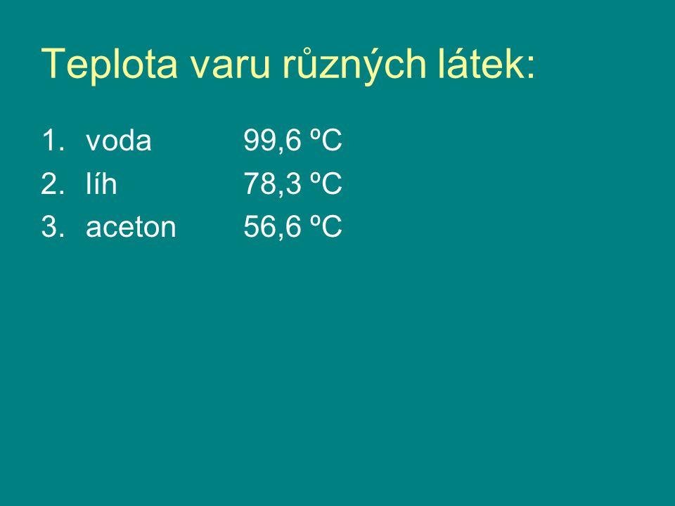 Teplota varu různých látek: 1.voda 99,6 ºC 2.líh 78,3 ºC 3.aceton 56,6 ºC