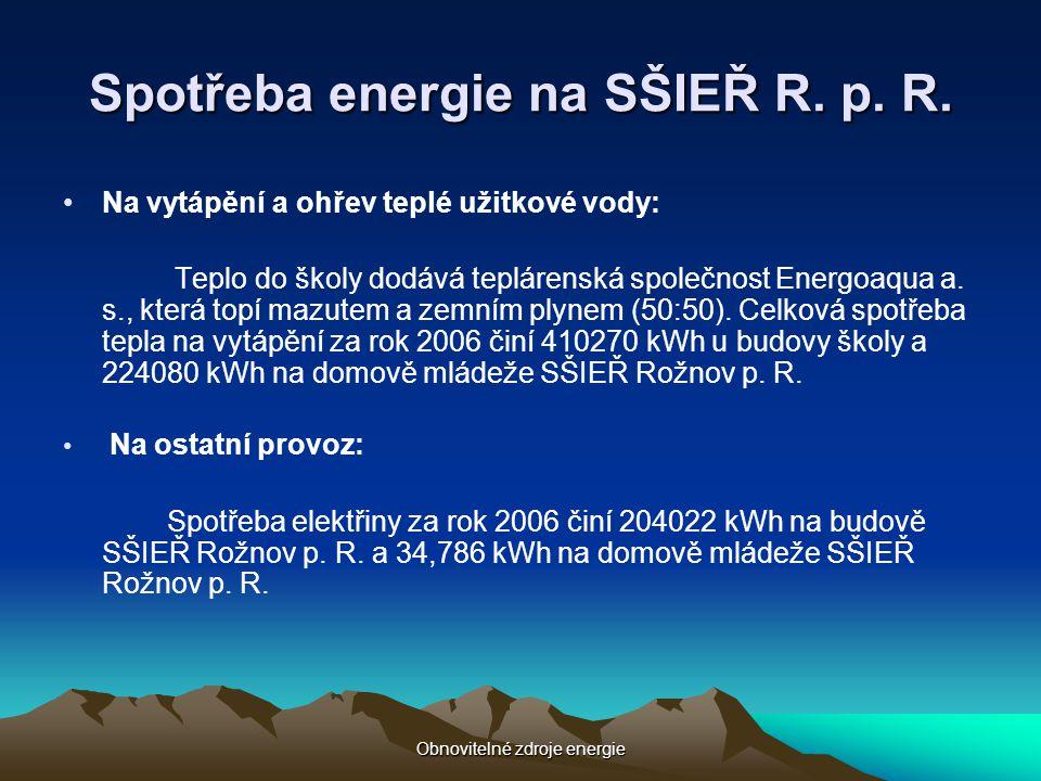 Obnovitelné zdroje energie Spotřeba energie na SŠIEŘ R. p. R. •Na vytápění a ohřev teplé užitkové vody: Teplo do školy dodává teplárenská společnost E