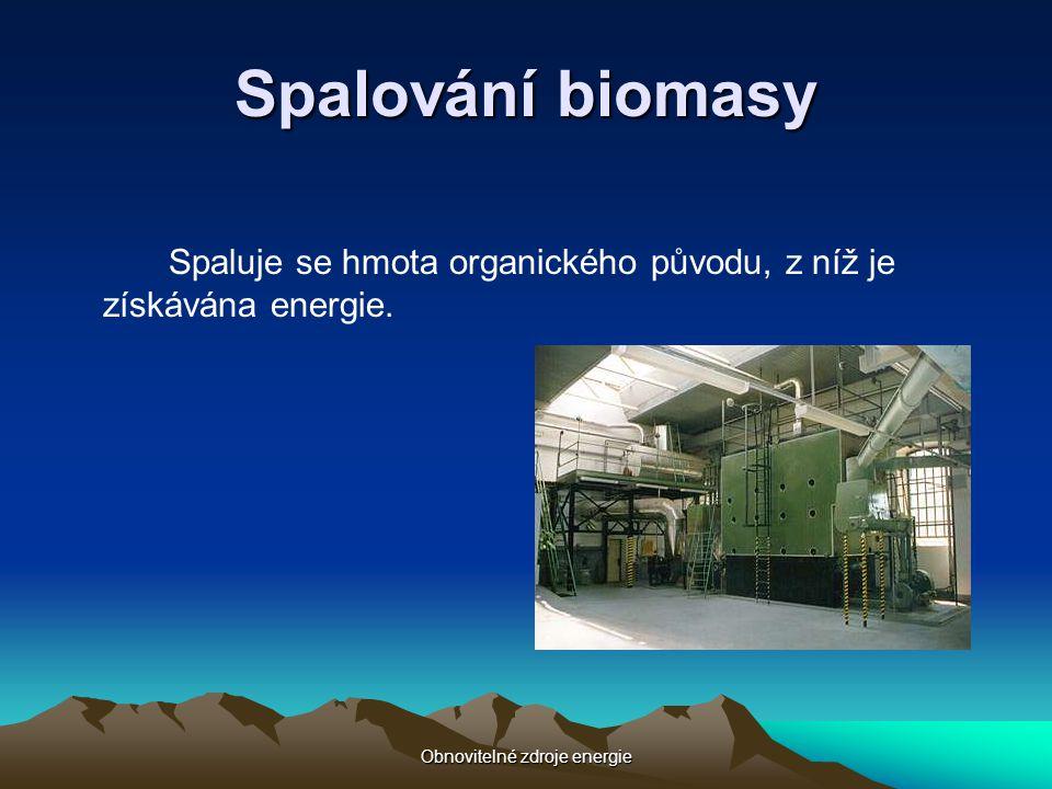 Obnovitelné zdroje energie Spalování biomasy Spaluje se hmota organického původu, z níž je získávána energie.