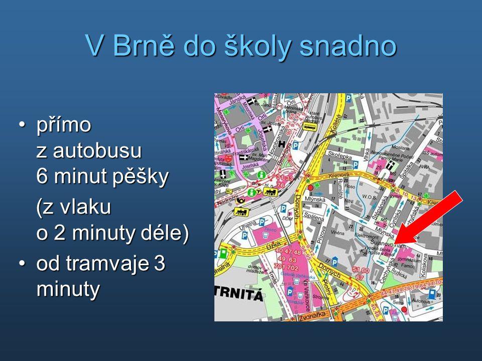 V Brně do školy snadno •přímo z autobusu 6 minut pěšky (z vlaku o 2 minuty déle) (z vlaku o 2 minuty déle) •od tramvaje 3 minuty