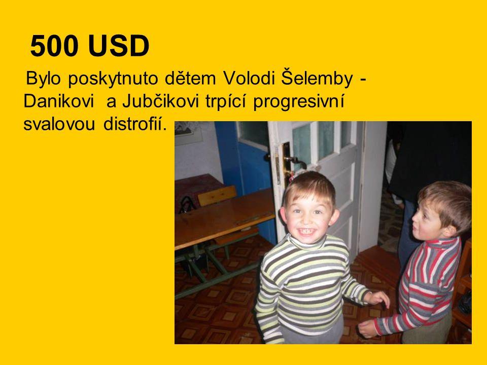500 USD Bylo poskytnuto dětem Volodi Šelemby - Danikovi a Jubčikovi trpící progresivní svalovou distrofií.