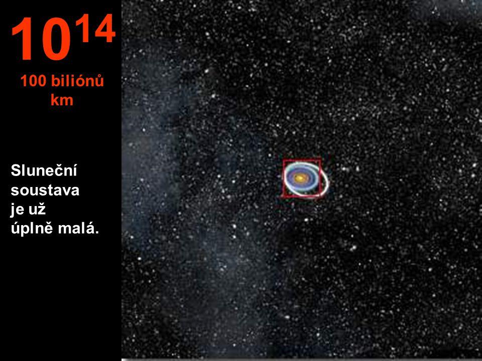 10 14 100 biliónů km Sluneční soustava je už úplně malá.