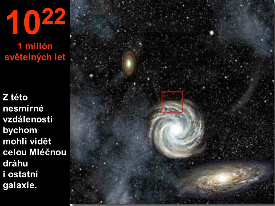 Z této nesmírné vzdálenosti bychom mohli vidět celou Mléčnou dráhu i ostatní galaxie.