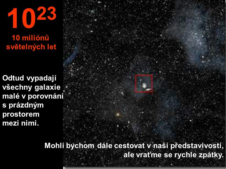 Odtud vypadají všechny galaxie malé v porovnání s prázdným prostorem mezi nimi.