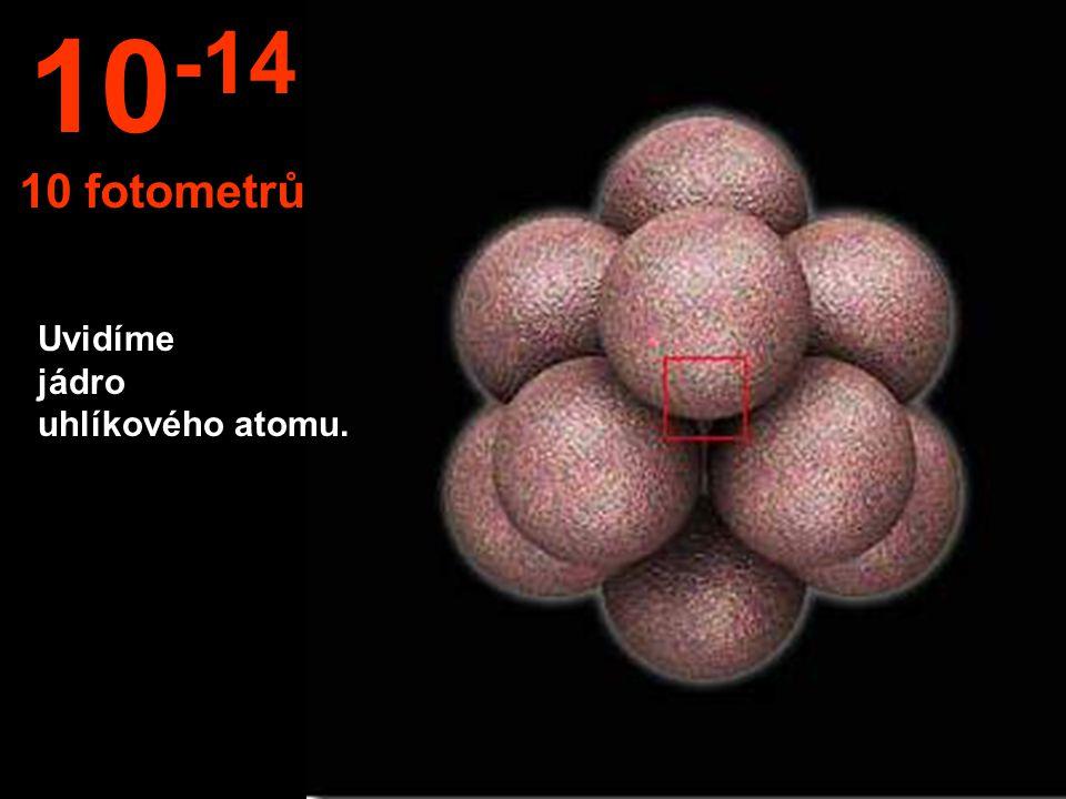 Uvidíme jádro uhlíkového atomu. 10 -14 10 fotometrů