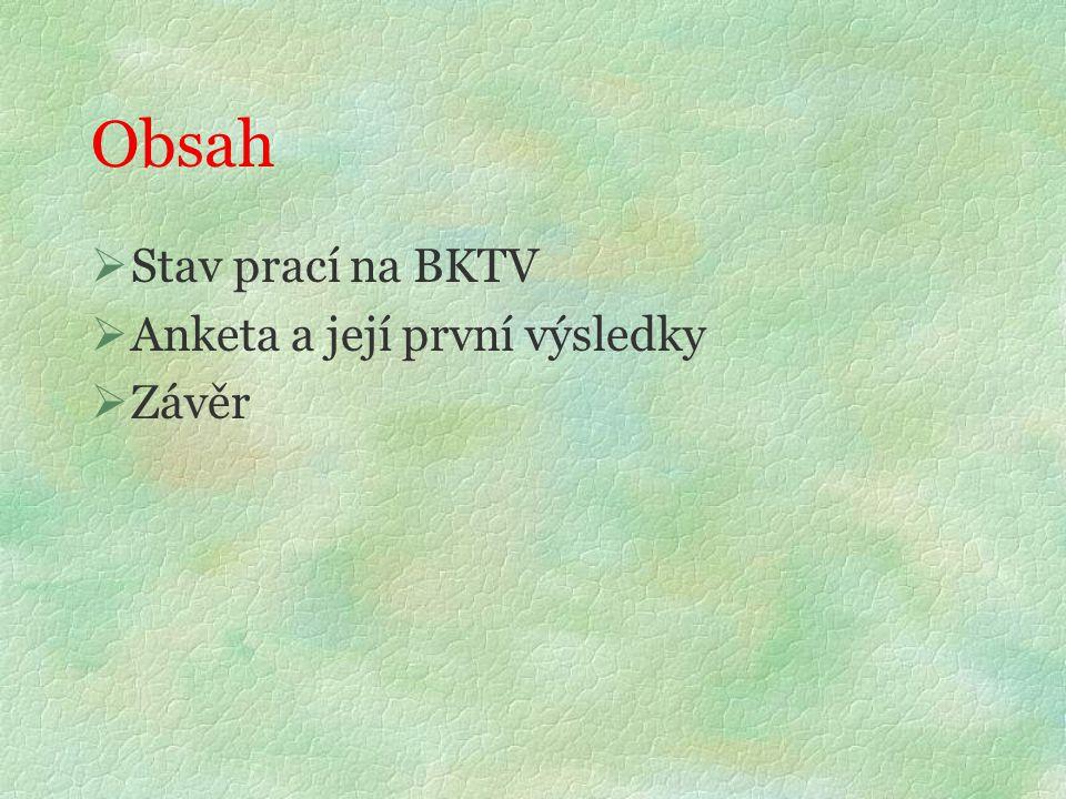 Obsah  Stav prací na BKTV  Anketa a její první výsledky  Závěr
