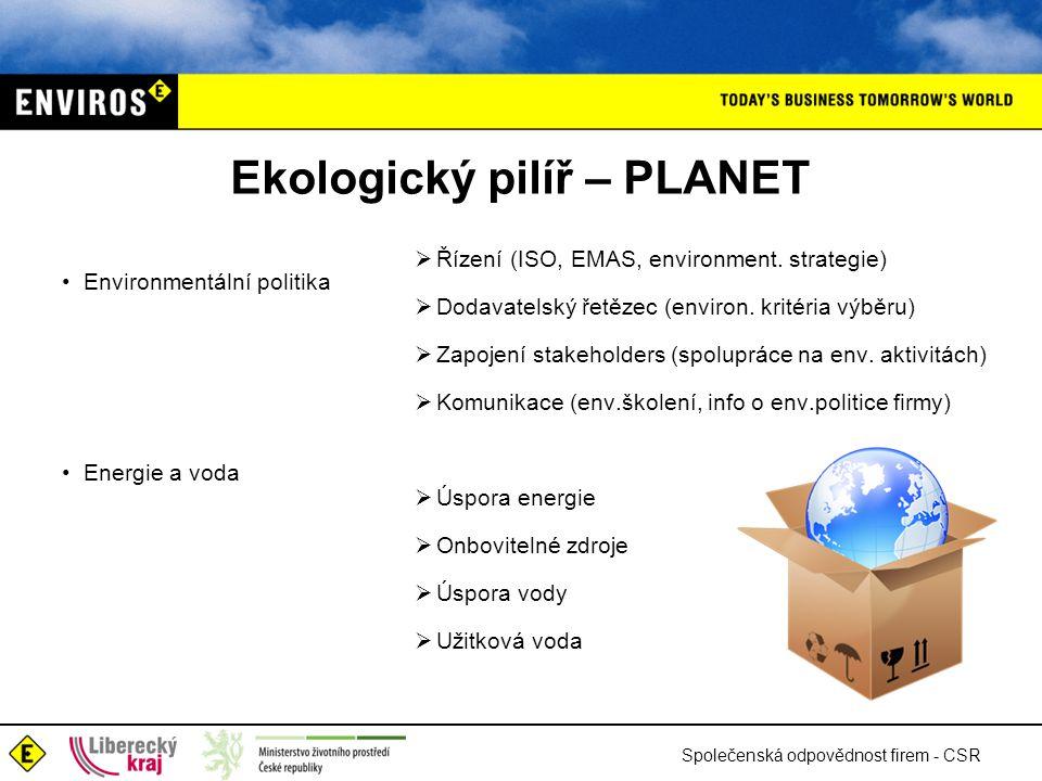Společenská odpovědnost firem - CSR Ekologický pilíř – PLANET •Environmentální politika •Energie a voda  Řízení (ISO, EMAS, environment.