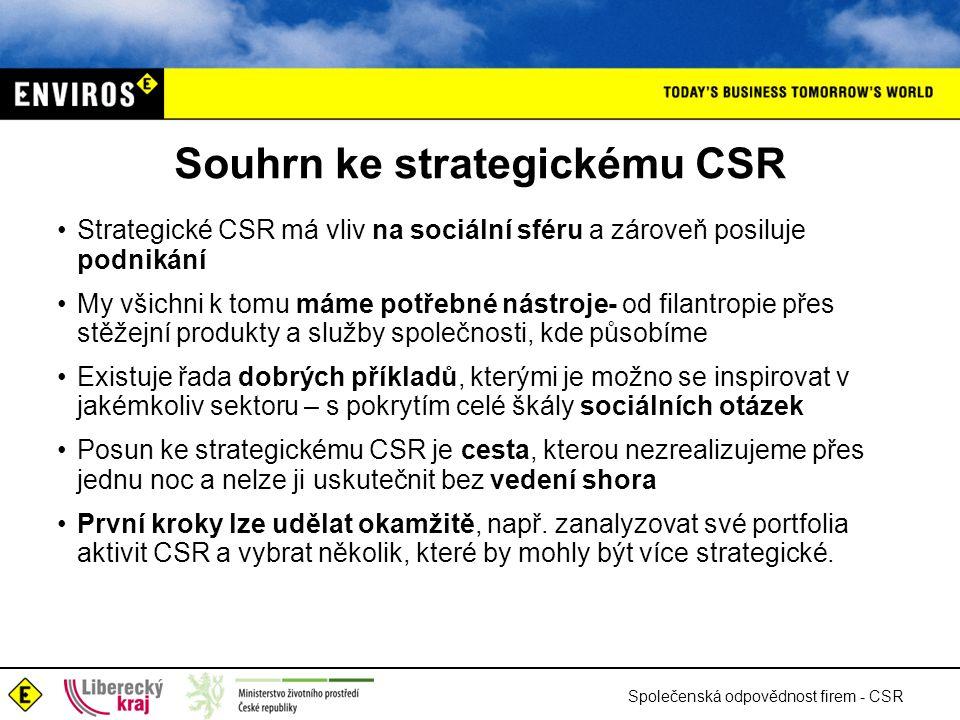 Společenská odpovědnost firem - CSR Souhrn ke strategickému CSR •Strategické CSR má vliv na sociální sféru a zároveň posiluje podnikání •My všichni k tomu máme potřebné nástroje- od filantropie přes stěžejní produkty a služby společnosti, kde působíme •Existuje řada dobrých příkladů, kterými je možno se inspirovat v jakémkoliv sektoru – s pokrytím celé škály sociálních otázek •Posun ke strategickému CSR je cesta, kterou nezrealizujeme přes jednu noc a nelze ji uskutečnit bez vedení shora •První kroky lze udělat okamžitě, např.