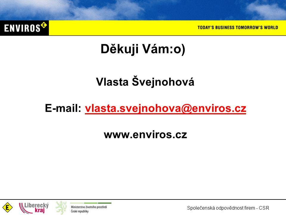 Společenská odpovědnost firem - CSR Děkuji Vám:o) Vlasta Švejnohová E-mail: vlasta.svejnohova@enviros.czvlasta.svejnohova@enviros.cz www.enviros.cz