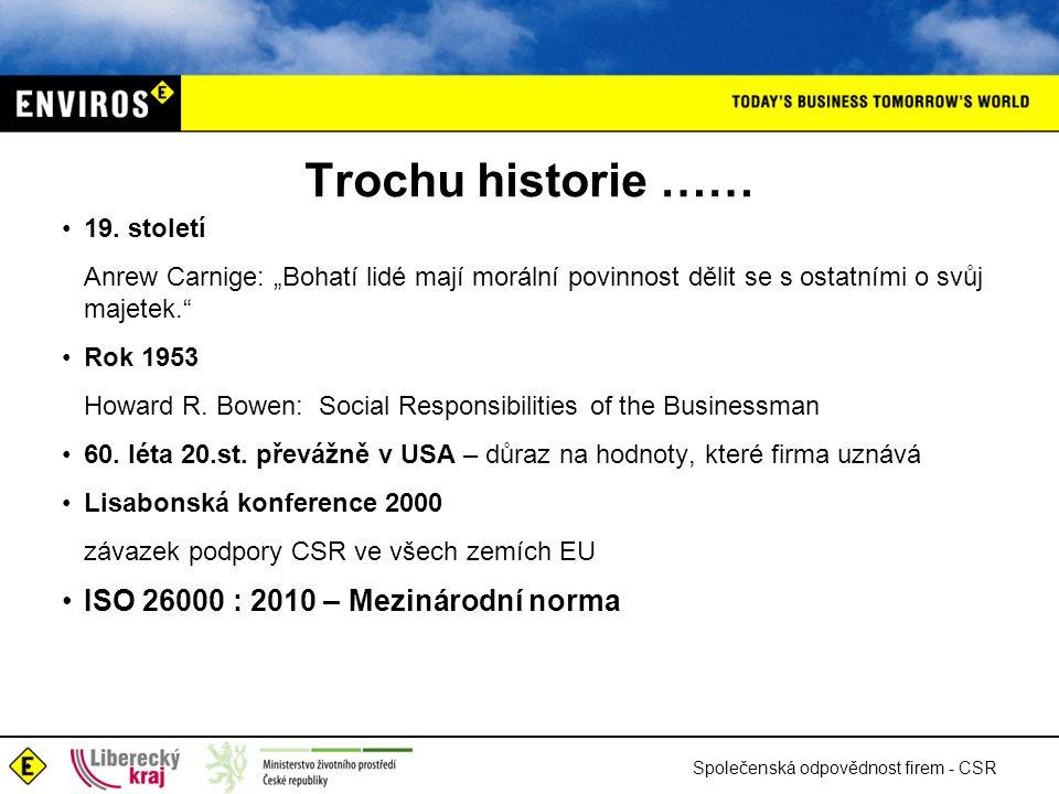Společenská odpovědnost firem - CSR Trochu historie …… •19.