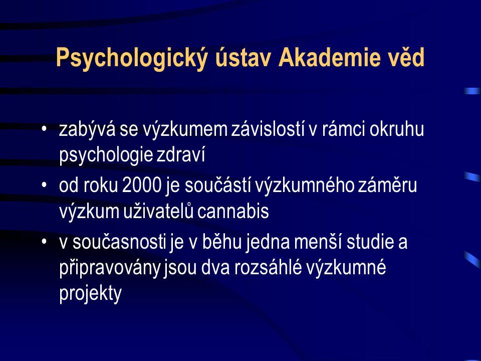 Psychologický ústav Akademie věd •zabývá se výzkumem závislostí v rámci okruhu psychologie zdraví •od roku 2000 je součástí výzkumného záměru výzkum uživatelů cannabis •v současnosti je v běhu jedna menší studie a připravovány jsou dva rozsáhlé výzkumné projekty