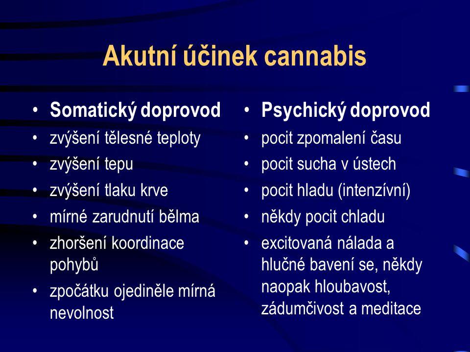 Akutní účinek cannabis • Somatický doprovod •zvýšení tělesné teploty •zvýšení tepu •zvýšení tlaku krve •mírné zarudnutí bělma •zhoršení koordinace pohybů •zpočátku ojediněle mírná nevolnost • Psychický doprovod •pocit zpomalení času •pocit sucha v ústech •pocit hladu (intenzívní) •někdy pocit chladu •excitovaná nálada a hlučné bavení se, někdy naopak hloubavost, zádumčivost a meditace