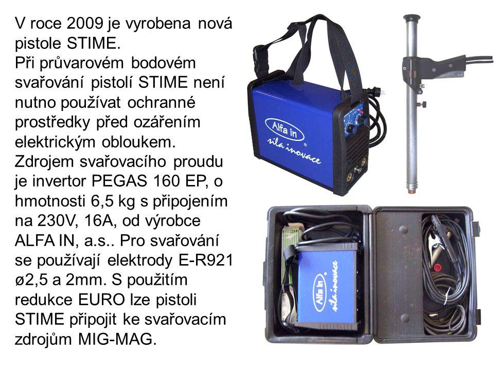 V roce 2009 je vyrobena nová pistole STIME. Při průvarovém bodovém svařování pistolí STIME není nutno používat ochranné prostředky před ozářením elekt
