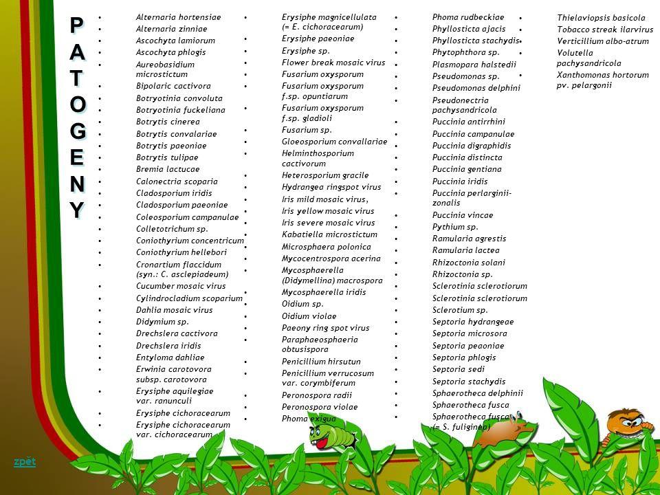 •Alternaria hortensiae •Alternaria zinniae •Ascochyta lamiorum •Ascochyta phlogis •Aureobasidium microstictum •Bipolaric cactivora •Botryotinia convoluta •Botryotinia fuckeliana •Botrytis cinerea •Botrytis convalariae •Botrytis paeoniae •Botrytis tulipae •Bremia lactucae •Calonectria scoparia •Cladosporium iridis •Cladosporium paeoniae •Coleosporium campanulae •Colletotrichum sp.