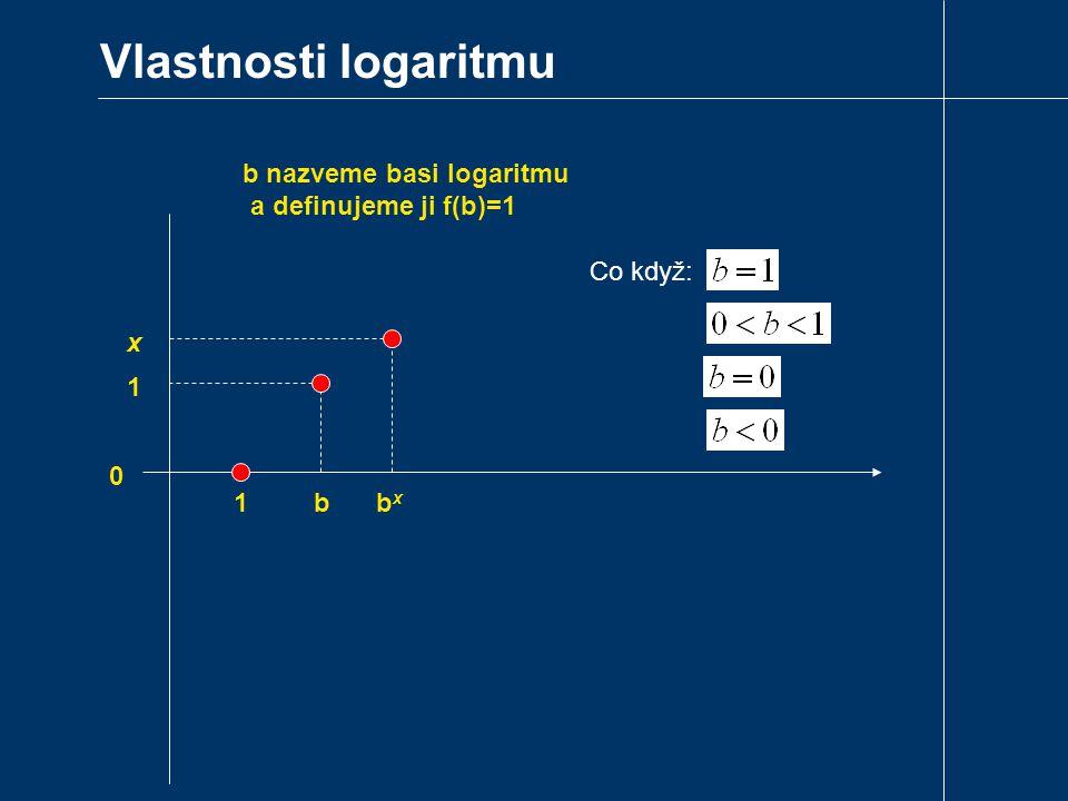 Vlastnosti logaritmu 1 0 bxbx x b nazveme basi logaritmu a definujeme ji f(b)=1 b 1 Co když: