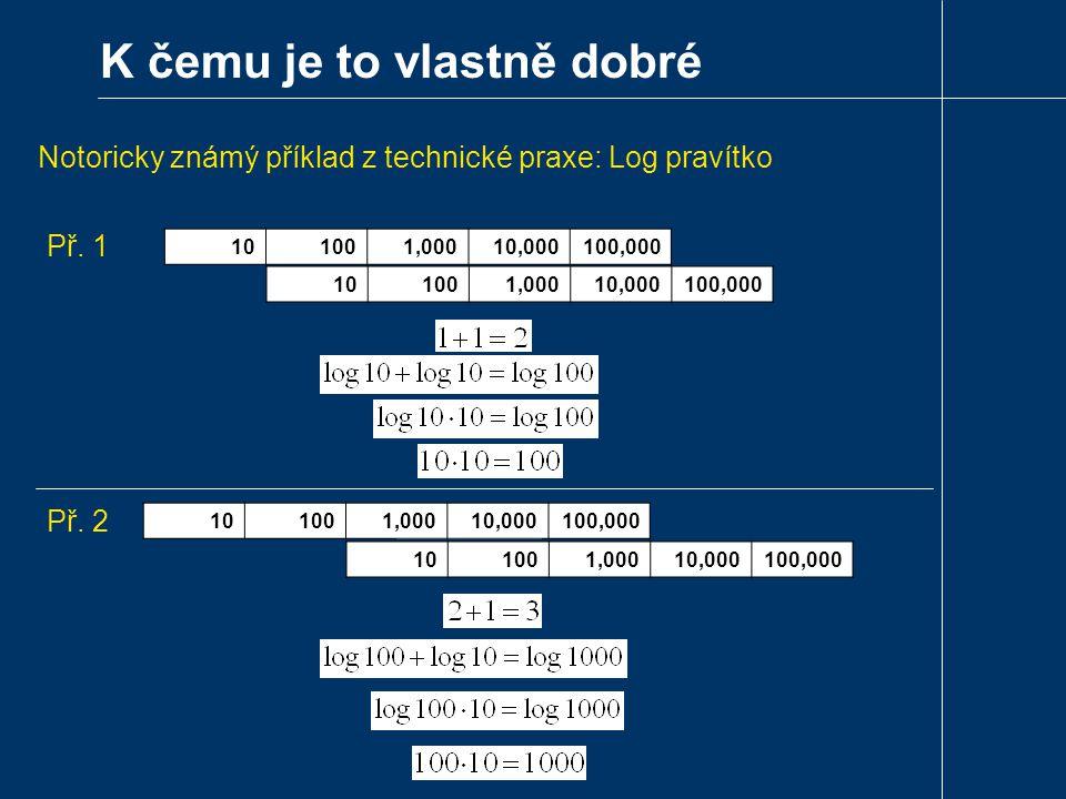 K čemu je to vlastně dobré Notoricky známý příklad z technické praxe: Log pravítko 10101001,00010,000100,000 10101001,00010,000100,000 10101001,00010,000100,000 10101001,00010,000100,000 Př.