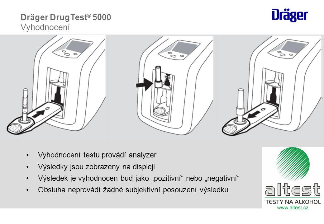 """•Vyhodnocení testu provádí analyzer •Výsledky jsou zobrazeny na displeji •Výsledek je vyhodnocen buď jako """"pozitivní nebo """"negativní •Obsluha neprovádí žádné subjektivní posouzení výsledku Dräger DrugTest ® 5000 Vyhodnocení"""