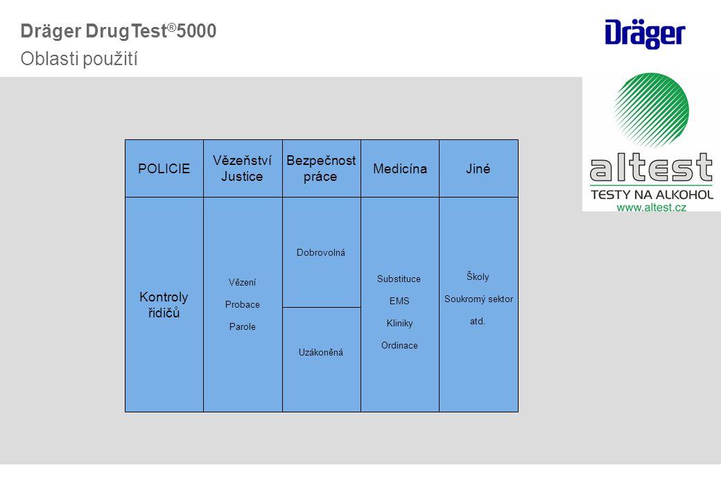 Školicí kazeta Testovací kazety Testovací souprava pro 2 skupiny (COC-OPI) Testovací souprava pro 6 skupin (THC-AMP-MAMP-COC-OPI-BZO) Školicí souprava Servisní souprava (pouze servis) Dräger DrugTest ® 5000 Testovací soupravy