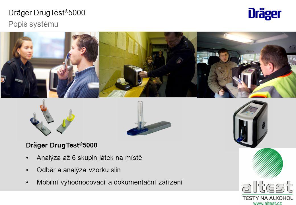 Dräger DrugTest ® 5000 •Analýza až 6 skupin látek na místě •Odběr a analýza vzorku slin •Mobilní vyhodnocovací a dokumentační zařízení Dräger DrugTest ® 5000 Popis systému