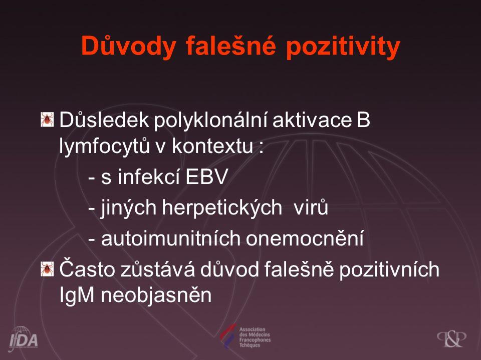 Důvody falešné pozitivity Důsledek polyklonální aktivace B lymfocytů v kontextu : - s infekcí EBV - jiných herpetických virů - autoimunitních onemocně