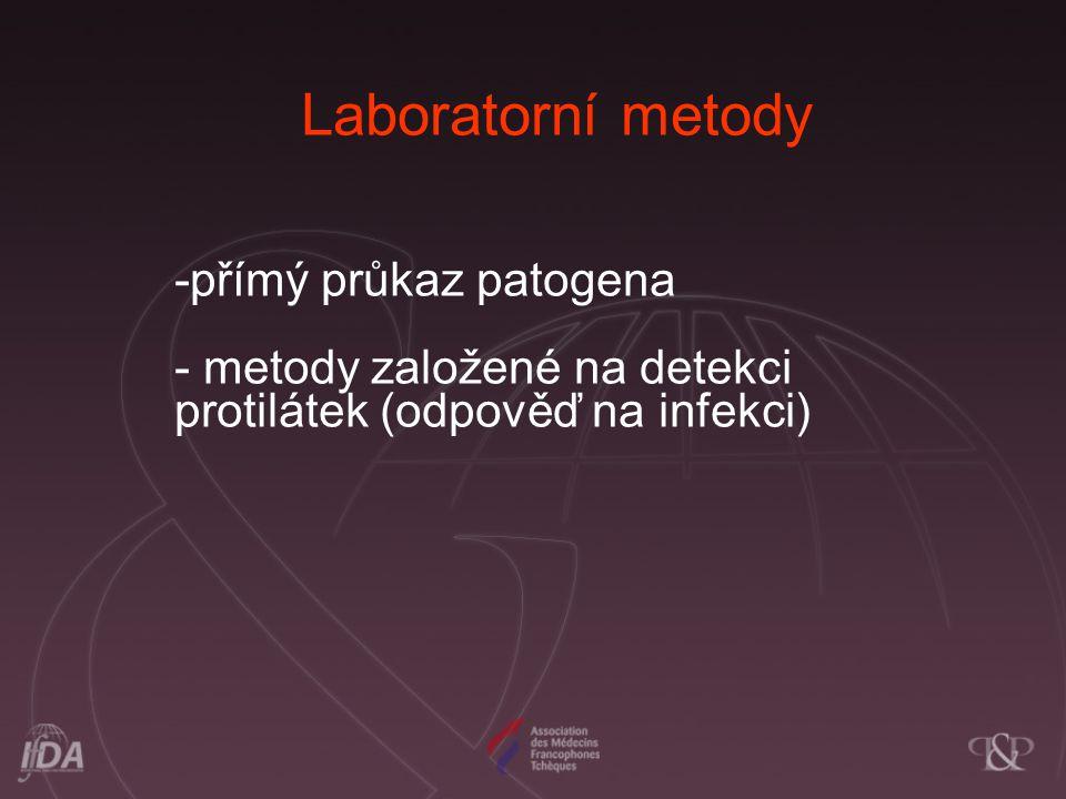 -přímý průkaz patogena - metody založené na detekci protilátek (odpověď na infekci) Laboratorní metody