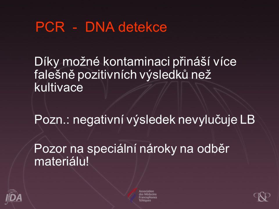 PCR - DNA detekce Díky možné kontaminaci přináší více falešně pozitivních výsledků než kultivace Pozn.: negativní výsledek nevylučuje LB Pozor na spec