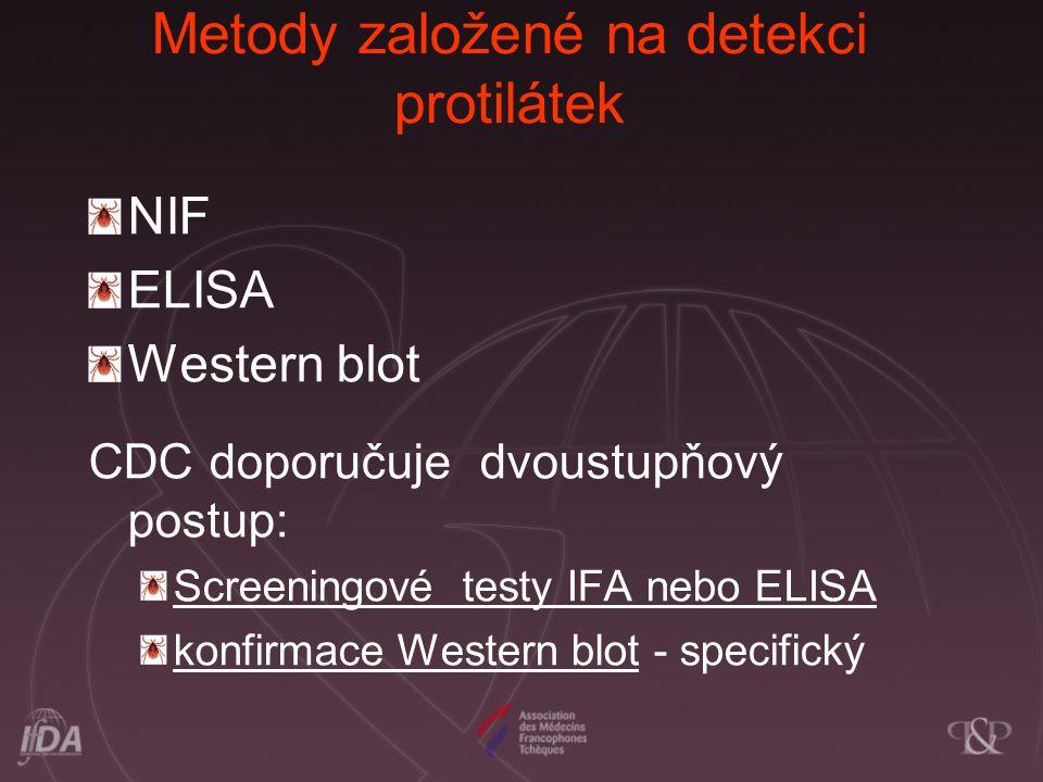 Metody založené na detekci protilátek NIF ELISA Western blot CDC doporučuje dvoustupňový postup: Screeningové testy IFA nebo ELISA konfirmace Western