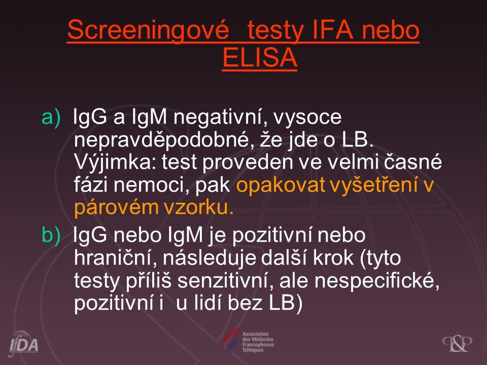 Screeningové testy IFA nebo ELISA a) IgG a IgM negativní, vysoce nepravděpodobné, že jde o LB. Výjimka: test proveden ve velmi časné fázi nemoci, pak
