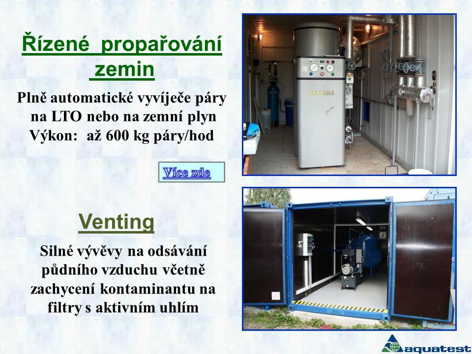 Venting Řízené propařování zemin Plně automatické vyvíječe páry na LTO nebo na zemní plyn Výkon: až 600 kg páry/hod Silné vývěvy na odsávání půdního v