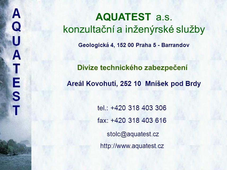 AQUATEST a.s. konzultační a inženýrské služby Geologická 4, 152 00 Praha 5 - Barrandov Divize technického zabezpečení tel.: +420 318 403 306 fax: +420