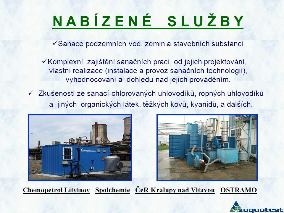 N A B Í Z E N É S L U Ž B Y  Sanace podzemních vod, zemin a stavebních substancí  Komplexní zajištění sanačních prací, od jejich projektování, vlast
