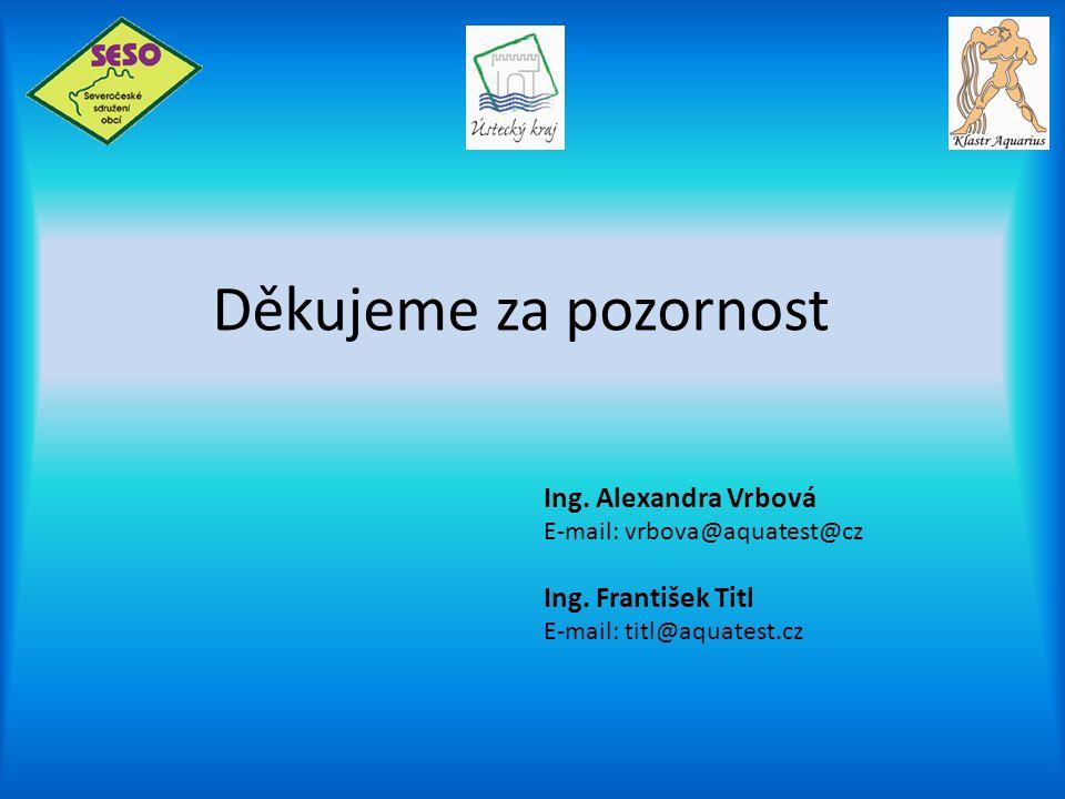 Děkujeme za pozornost Ing. Alexandra Vrbová E-mail: vrbova@aquatest@cz Ing. František Titl E-mail: titl@aquatest.cz