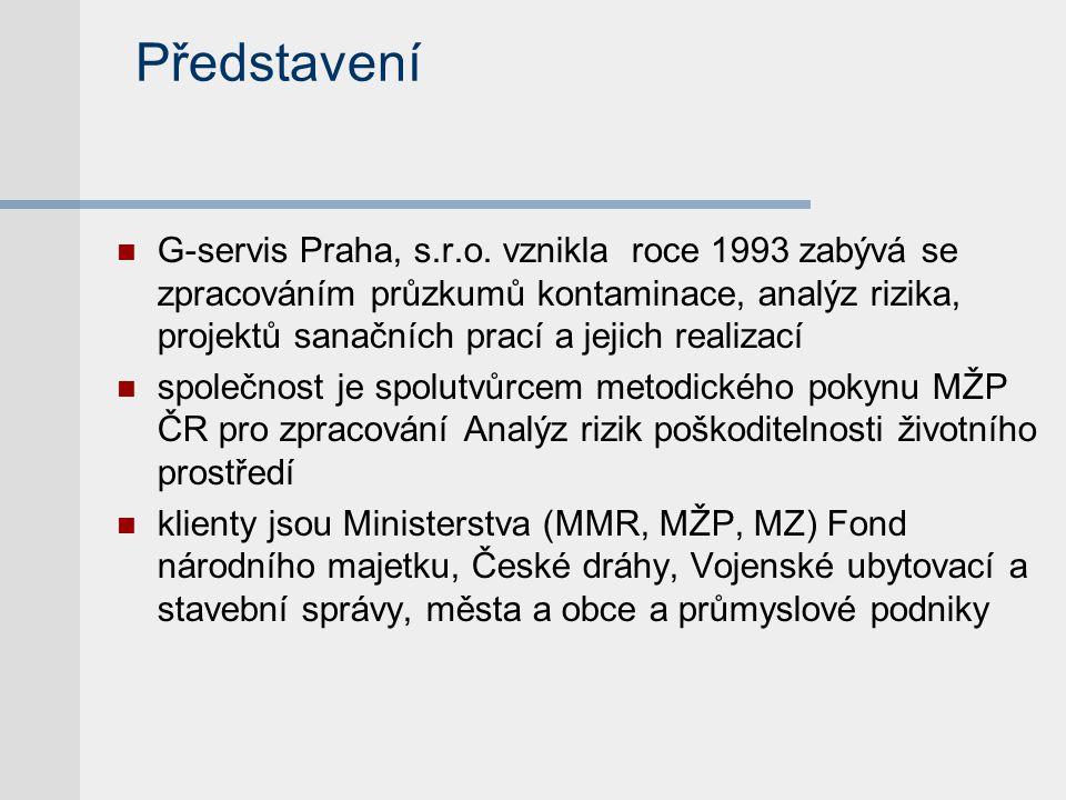 Představení  G-servis Praha, s.r.o. vznikla roce 1993 zabývá se zpracováním průzkumů kontaminace, analýz rizika, projektů sanačních prací a jejich re