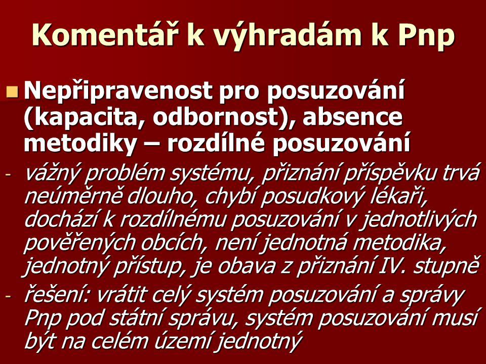 Komentář k výhradám k Pnp  Nepřipravenost pro posuzování (kapacita, odbornost), absence metodiky – rozdílné posuzování - vážný problém systému, přizn