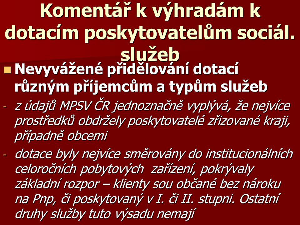 Komentář k výhradám k dotacím poskytovatelům sociál. služeb  Nevyvážené přidělování dotací různým příjemcům a typům služeb - z údajů MPSV ČR jednozna