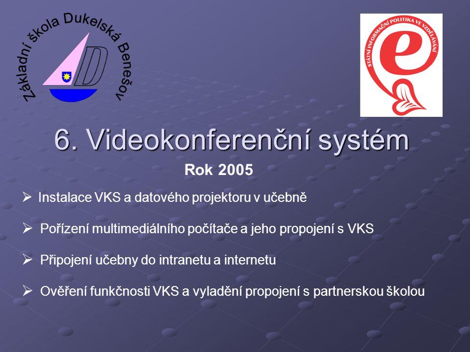 6. Videokonferenční systém  Instalace VKS a datového projektoru v učebně  Pořízení multimediálního počítače a jeho propojení s VKS  Připojení učebn