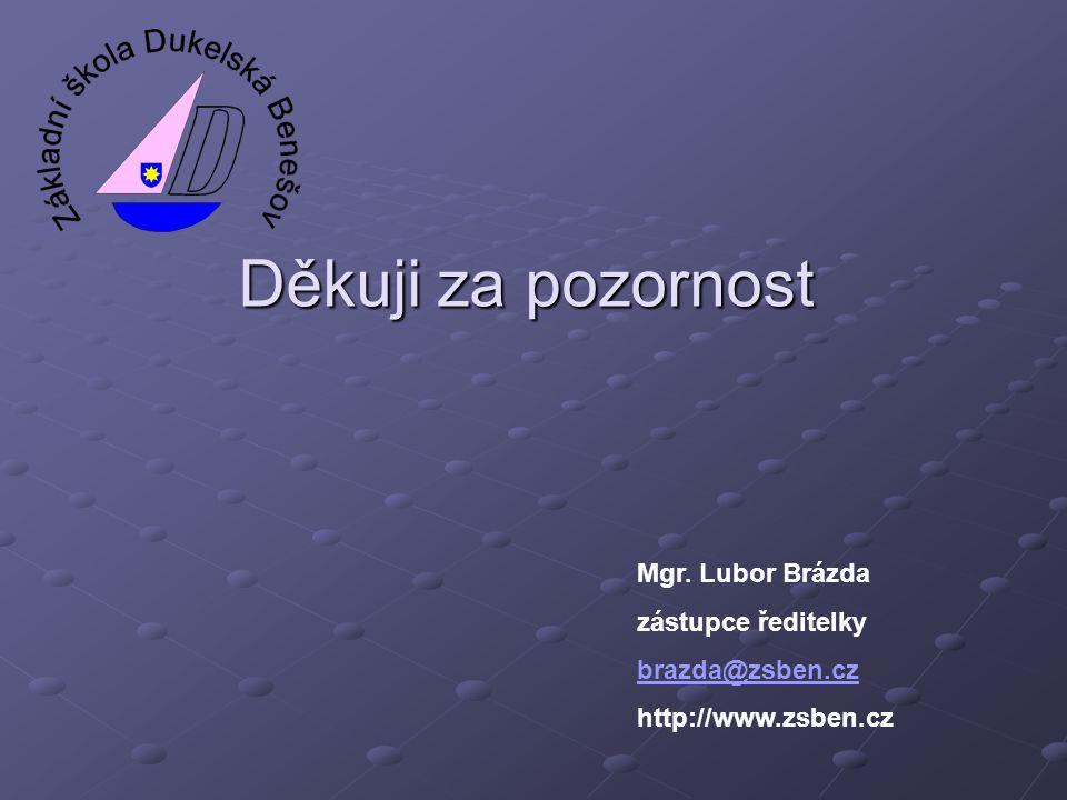 Děkuji za pozornost Mgr. Lubor Brázda zástupce ředitelky brazda@zsben.cz http://www.zsben.cz