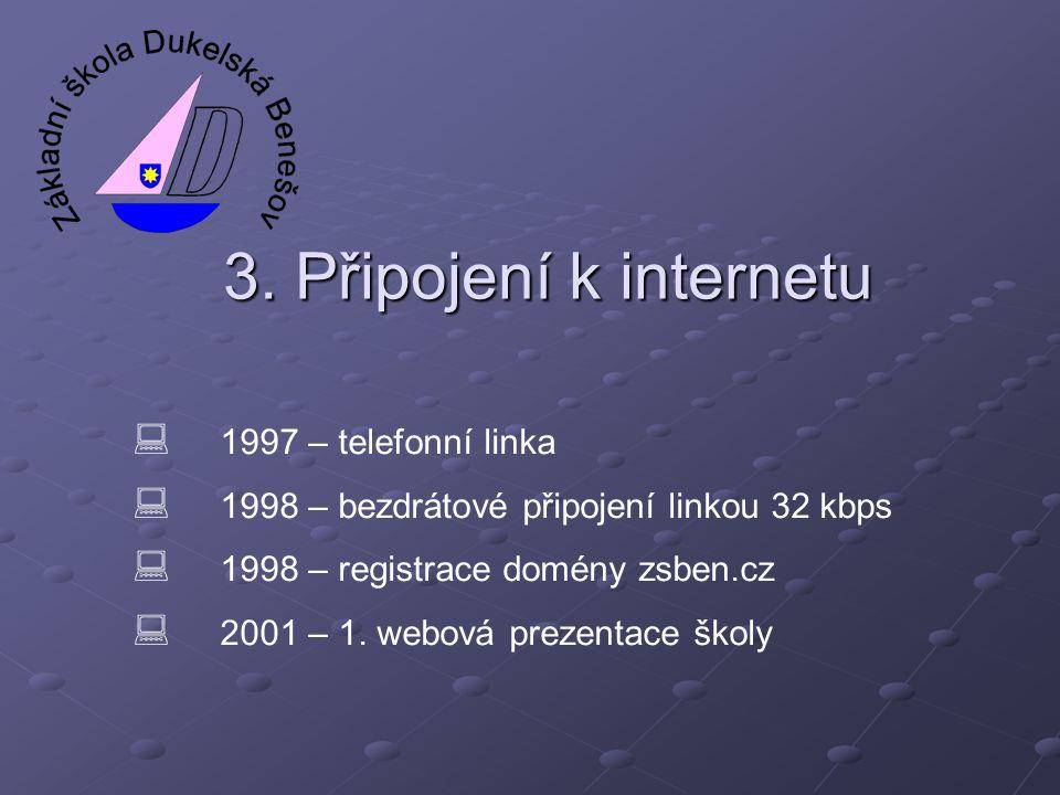 3. Připojení k internetu  1997 – telefonní linka  1998 – bezdrátové připojení linkou 32 kbps  1998 – registrace domény zsben.cz  2001 – 1. webová