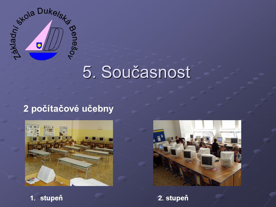 5. Současnost 2 počítačové učebny 1.stupeň2. stupeň